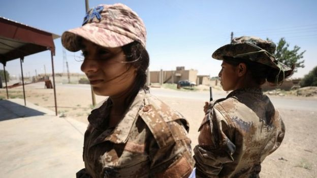Women SDF fighters in western Raqqa province, Syria on 18 June 2017.