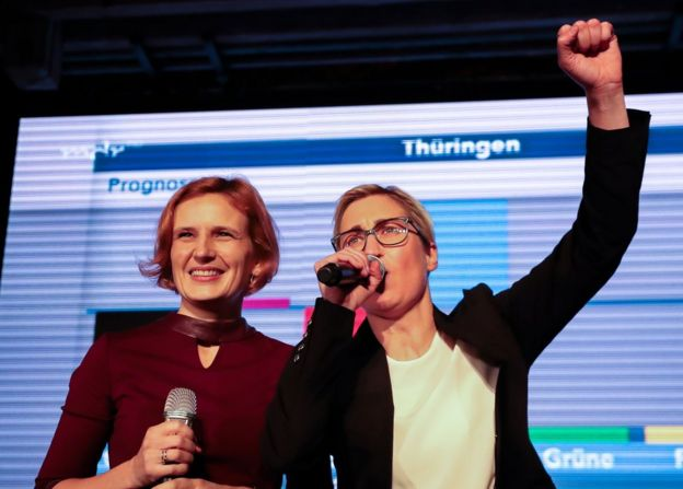 Co-leader of Germany's left-wing Linke party Katja Kipping and Thuringian State Chairwoman, Susanne Henning-Welsow, react on stage to the first forecasts of the results of the state elections in Thuringia, at the federal state parliament in Erfurt, eastern Germany on October 27, 2019
