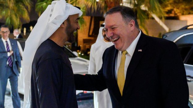 Abu Dhabi's Crown Prince Mohammed bin Zayed Al-Nahyan welcomes Secretary of State Mike Pompeo at Al-Shati Palace in Abu Dhabi, United Arab Emirates, January 12, 2019