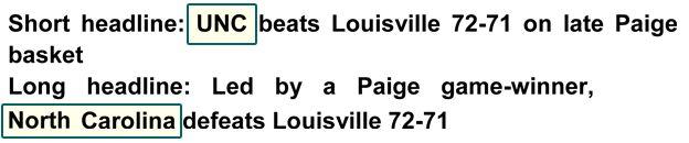 Short headline: UNC beats Louisville 72-71 on late Paige basket. Long headline: Led by a Paige game-winner, North Carolina defeats Louisville 72-71