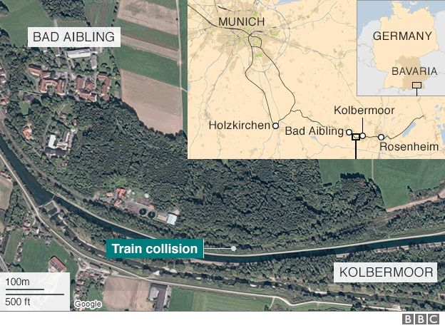 A site of a train crash in Bavaria, Germany