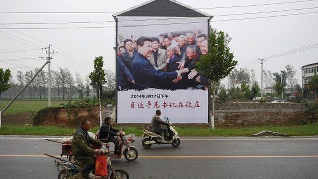 河南蘭考縣一處路旁的習近平扶貧宣傳海報(27/9/2017)