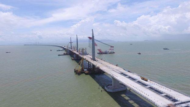 Aerial view of the Hong Kong-Zhuhai-Macao Bridge on June 29, 2016 in Zhuhai, Guangdong Province of China.