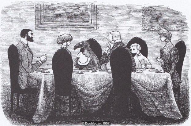 """《犹豫客》:""""它和他们一起吃早饭,一会儿就吃完了/所有的糖浆、烤面包片,还咬了几口盘子。"""""""
