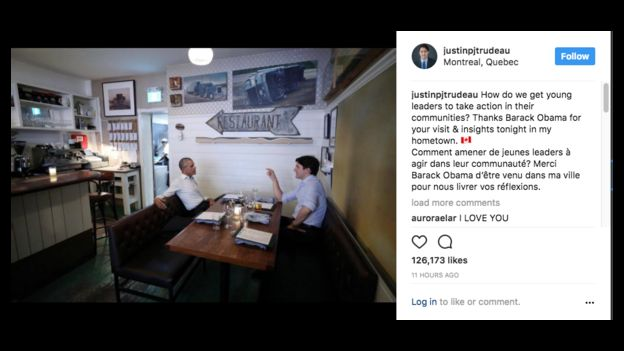 Trudeau posted on Instagram about his dinner with Obama