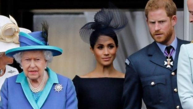 The Queen, the Duchess of Sussex and the Duke of Sussex