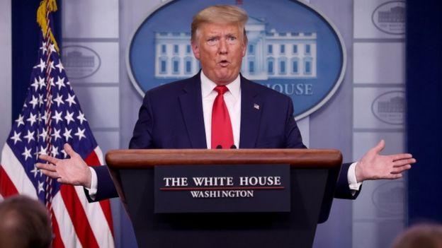 O presidente dos EUA, President Donald Trump, em fala na Casa Branca
