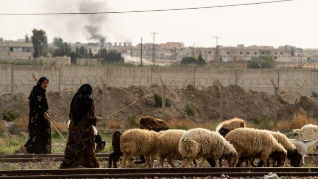 رعاة أغنام قرب الحدود السورية وآثار قصف تظهر في خلفية الصورة