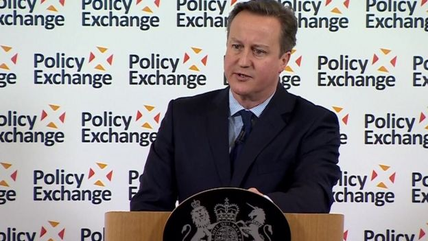 David Cameron making speech on prisons to Policy Exchange on 8 February 2016