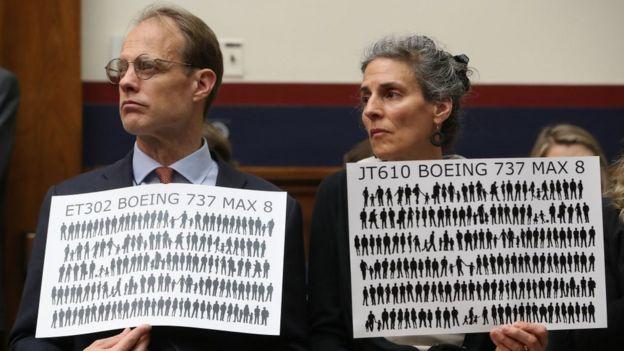 Familiares de las víctimas de los accidentes de los aviones 737 Max.