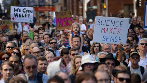 Supporters of science and research gather for the March for Science protest in Sydney, 22 April 2017