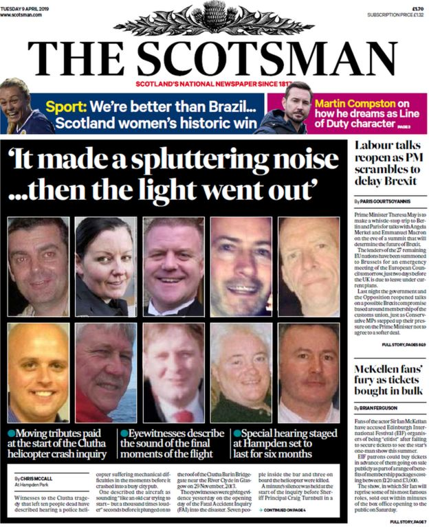 Scotland's papers: Clutha inquiry hears how helicopter hit pub roof