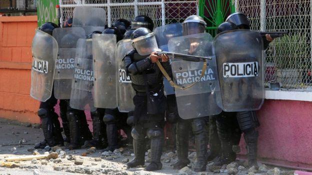 Policía antimotines en Nicaragua