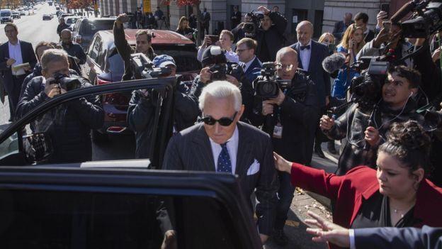 Roger Stone leaving court on 15 November