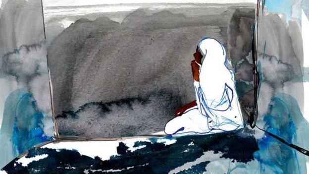 Sejak ditangkap, Noura tetap diborgol di sebuah penjara tanpa atap.