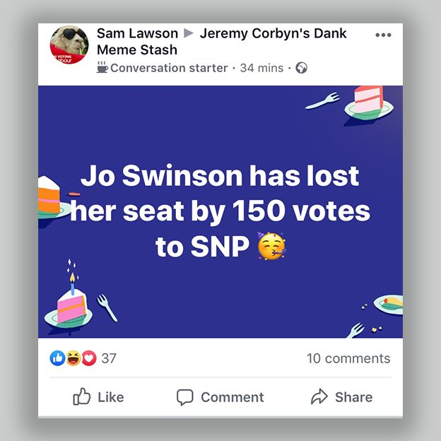 A Facebook post in a pro-Jeremy Corbyn group celebrating the fact that Liberal Democrat leader Jo Swinson lost her seat
