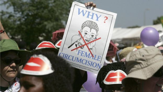 Members of African gay and lesbian communities demonstrate against female genital mutilation in Nairobi in 2007