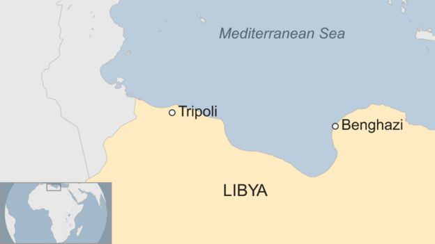A BBC map showing the location of Benghazi, a city in the north east of Libya