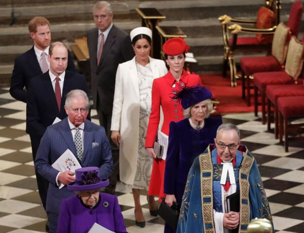 Royal family at the service at Westminster Abbey in March 2019