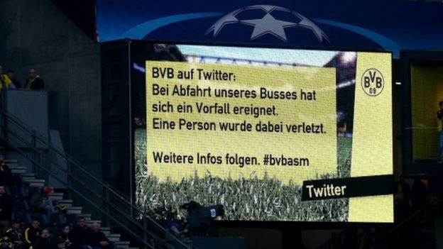 A message at Dortmund's Signal Iduna Park tells fans about the bus explosion