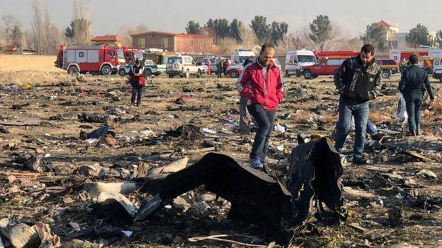 Lugar del accidente de avión.