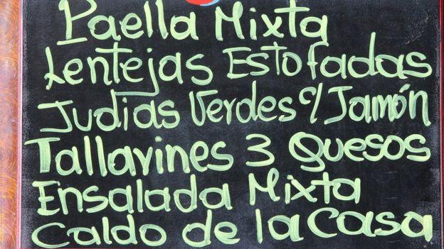 Menú de restaurante español