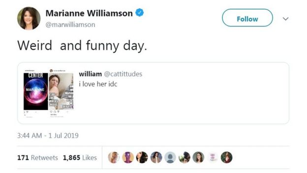 Marianne Williamson: Presidential hopeful winning Reddit