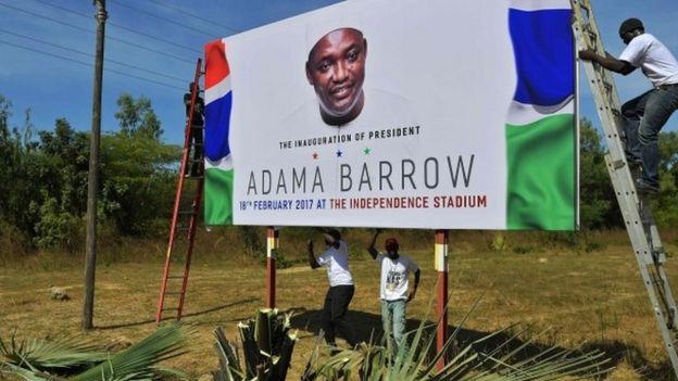Billboard announcing President Barrow's inauguration