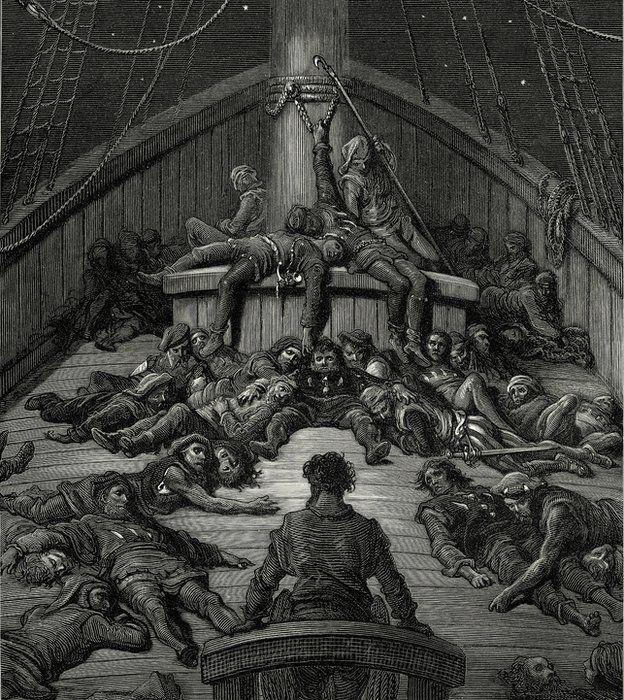 Marineros muriendo en barco; grabado del siglo XIX