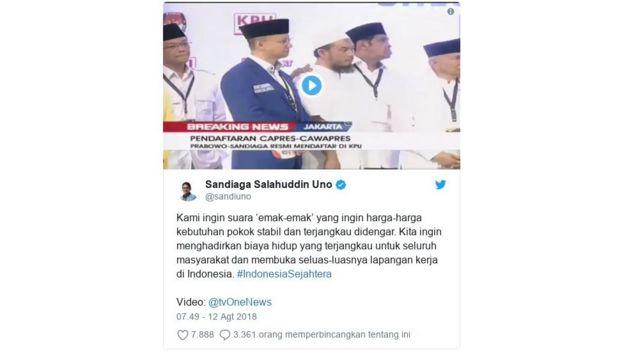 Cawapres kubu Prabowo, Sandiaga Uno, menggunakan Twitter untuk mendapatkan dukungan 'emak-emak.