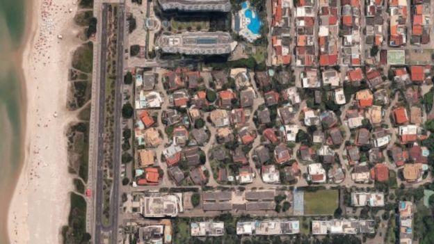 visão de satélite do condomínio.