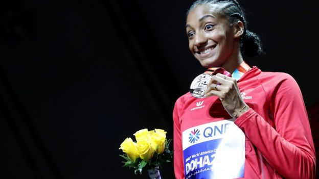 Silver medallist Nafissatou Thiam of Belgium stands on the podium during the medal ceremony for the Women's Heptathlon at the World Athletics Championships Doha 2019 4 October 2019 in Doha, Qatar