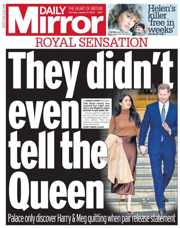 The Daily Mirror baş sayfa