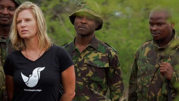 Activist Jamie Joseph (front left) and rangers in South Africa