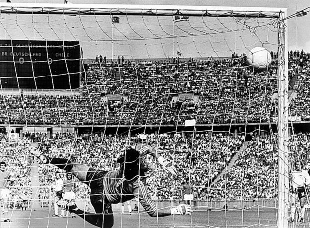 Paul Breitner scores in the 18th minute against Chile.