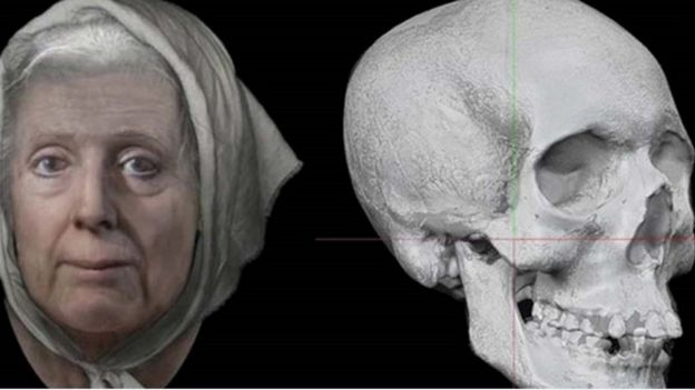 Lilias Adie reconstruction (L) and her skull (R)