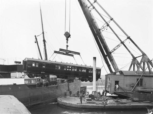 Train and crane