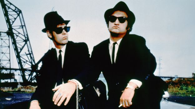 Dan Aykroyd and John Belushi on the set of The Blues Brothers