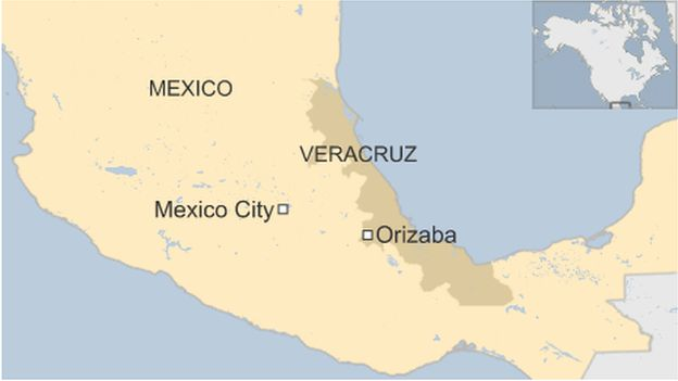 A map showing Veracruz state in Mexico