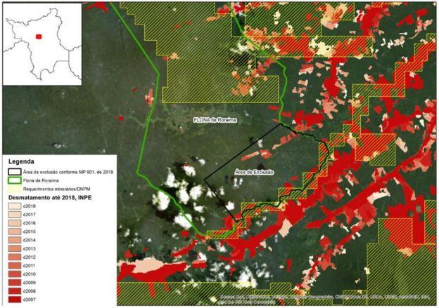 Mapa mostrando áreas de interesse de mineração em Roraima