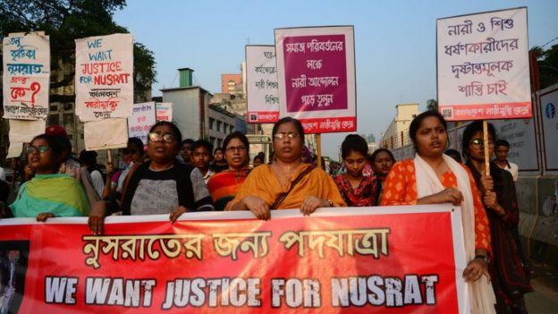 Protestan en Bangladesh por asesinato de chica quemada por denunciar acoso sexual