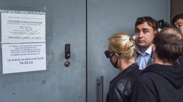 Yulia Navalny outside acute poisoning unit of Omsk hospital