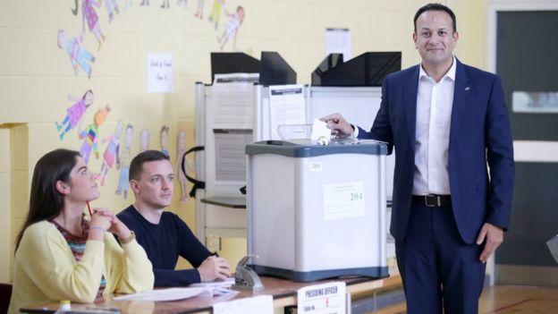 Taoiseach Leo Varadkar casts his vote