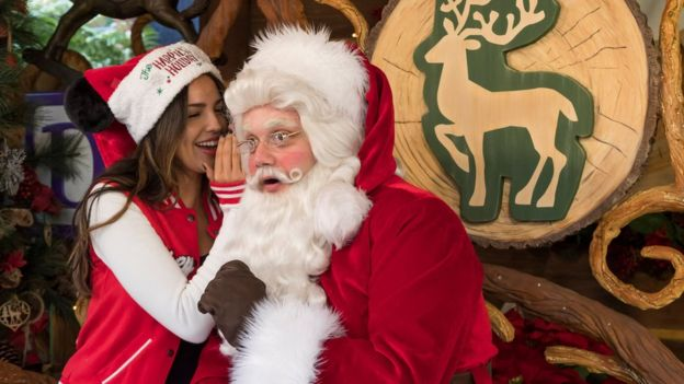 Actress Eiza Gonzalez meets Santa