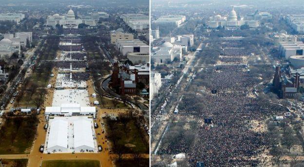 Una comparación entre la cantidad de público asistente a la toma de posesión de Trump en 2017 (izq.) y la de Barack Obama en 2009 (der.)