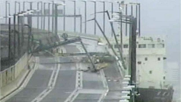 A tanker ship had smashed into a bridge connecting the city of Izumisano with Kansai airport,
