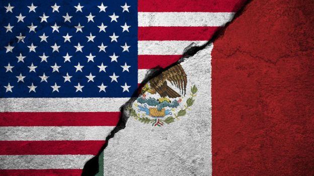 bandera de Estados Unidos y de México