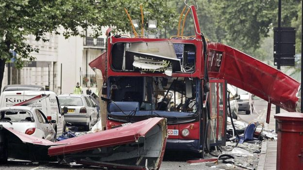 Number 30 bus blown up at Tavistock Square