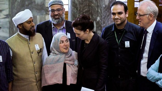 The Prime Minister of New Zealand, Jacinda Ardern, and members of the Muslim community in New Zealand