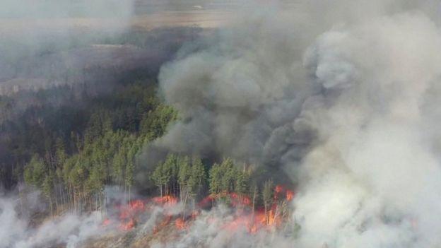 Incendios forestales cercanos a Chernóbil.
